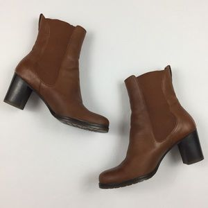 COLE HAAN Brown Chunky Heel Ankle Boot